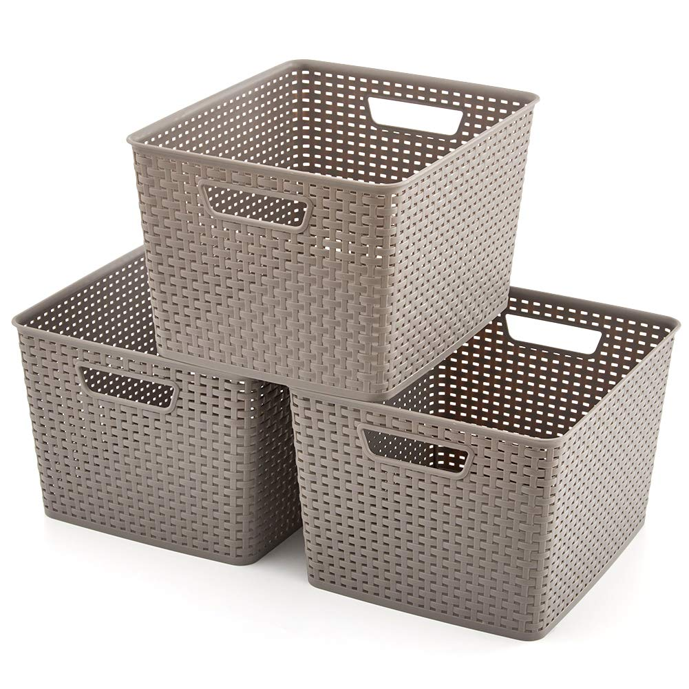 EZOWare Large Gray Plastic Knit Shelf Storage Organizer Baskets Perfect for Storing Small Household Items - Pack of 3