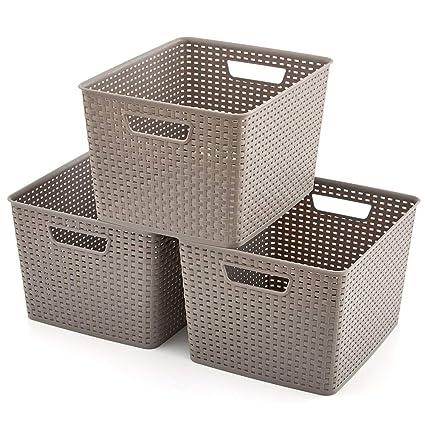 EZOWare 3 pcs Grande Cestas de Almacenaje Multiuso, Cajas Organizadoras de Plástico con Efecto de