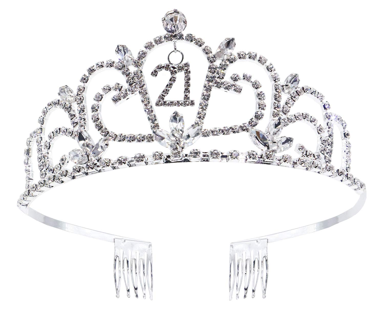 21st Birthday Party Princess Tiara Sparkle Glitter Rhinestone Crown with Combs