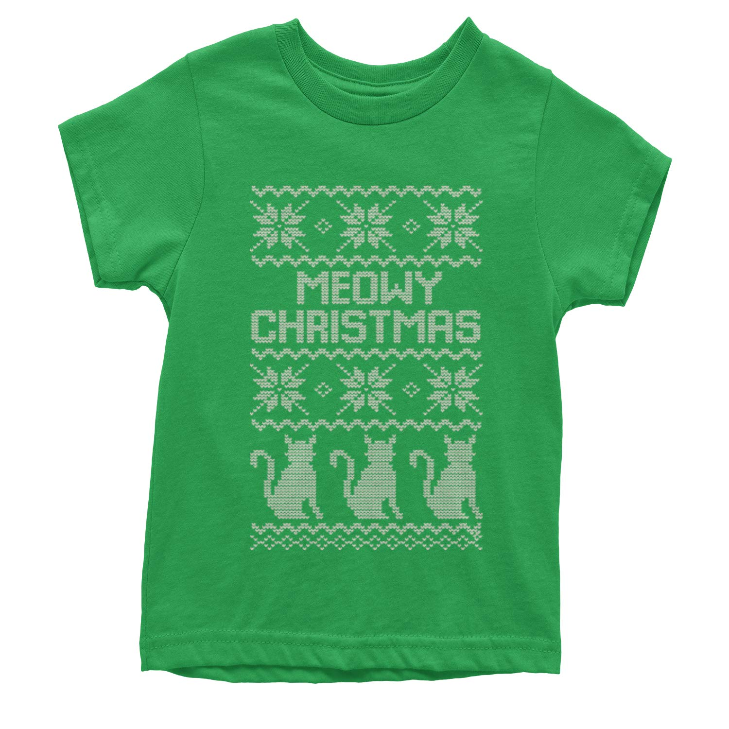 Motivated Culture Meowy Christmas Ugly Christmas Sweater Youth T-Shirt