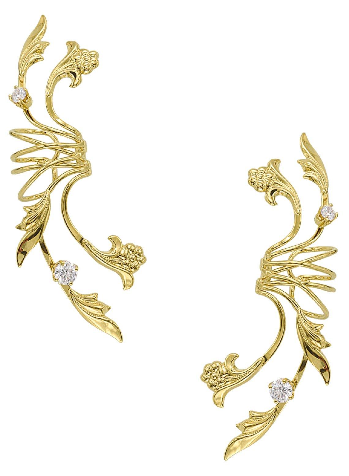 Ear Charm's Non-Pierced Floral CZ Full Ear Spray Ear Cuff Gold on Sterling Silver PAIR of Earring Cuffs