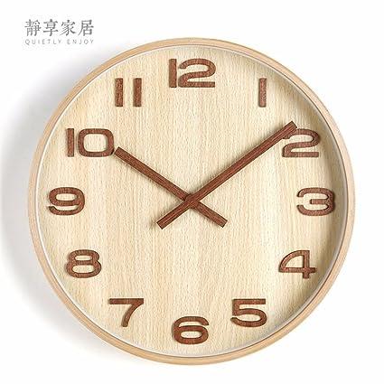 WERLM Diseño personalizado decorativos para el hogar reloj de pared Reloj de pared de madera maciza ...