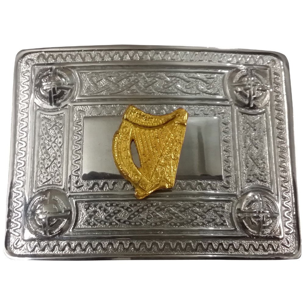 AAR Scottish Kilt Belt Buckle Celtic Design with Gold Harp Badge