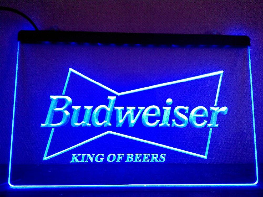 A009-r Budweiser King Beer Bar Pub Club Neon Light Sign