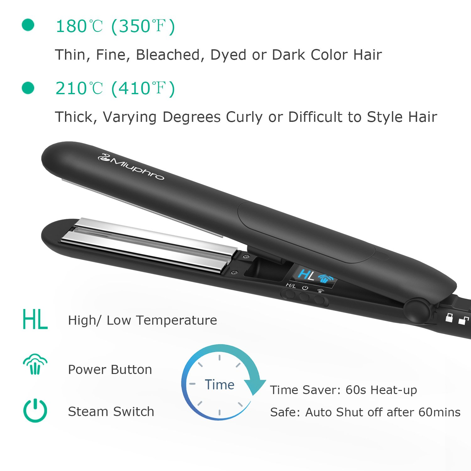 Miuphro Steam Hair Straightener, Salon Hair Straightening Iron with Titanium Plate + Adjustable Temperatures +Locking Switch, Heats up Fast+ Portable Professional Vapor Flat Iron by Miuphro (Image #4)
