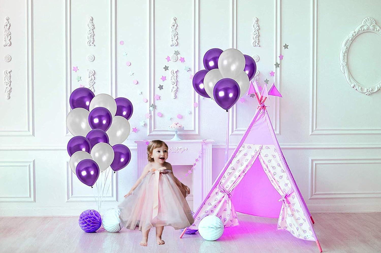 AWESMR Party Balloons 12inch 50 Pcs Latex Metallic Balloons Helium Shiny Balloon Garland Decor Party for Birthday,Baby Shower,Wedding,Graduation Party Decoration Supplies Balloon Metallic Multicolor