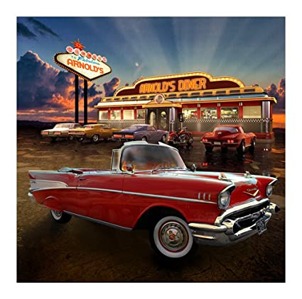 Amazon com: Photography Backdrop -50s-Diner- 100% Seamless Polyester