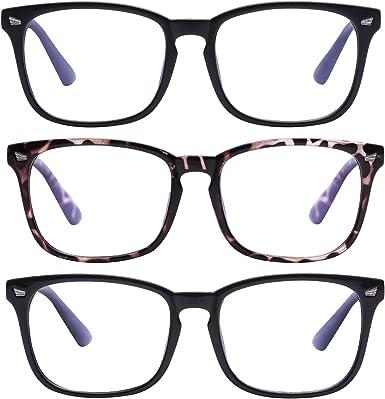 Bloqueo Luz Azul Gafas Computadora Ordenador Anti Rayo Azul Filtro Anteojos Cuadrado Reduce Fatiga Visual Para Mujer Hombre Negro