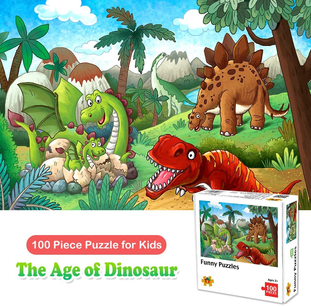 100 Piece Jigsaw Puzzles for Kids Ages 4-8 The Age of Dinosaur, Puzzles for Toddler Children Learning Educational Puzzles Toys for Boys and Girls 71WK8ZHJqvL