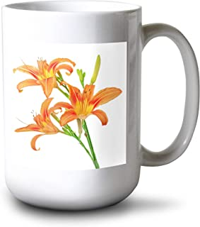 product image for Lantern Press Tiger Lilies Isolated on White Background A-9007104 (15oz White Ceramic Mug)