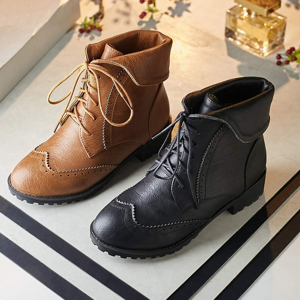 Amazon.com | Womens Retro Waterproof Combat Leather Ankle Boots Non-Slip Lace Up Booties Sunmoot(Size 5.5~9.5) | Ankle & Bootie