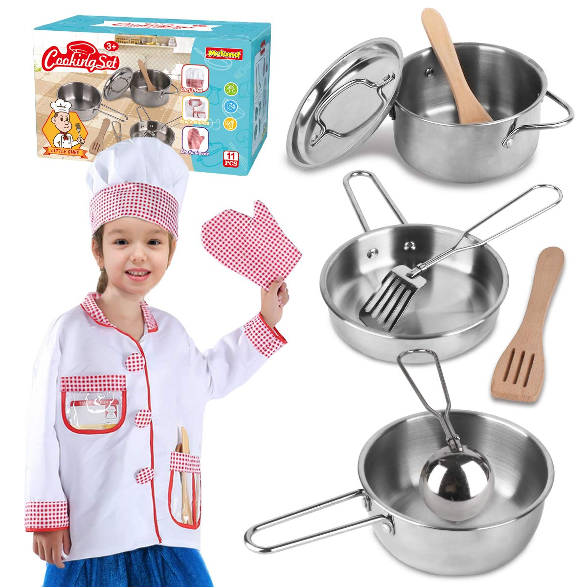 Play Kitchen Accessories for Toddlers with Stainless Steel Cookware Pots and Pans Kids Toy Kitchen Set, Cooking Utensils, Apron & Chef Hat for Girls Boys 3, 4, 5, 6, 7 and 8 Year Old