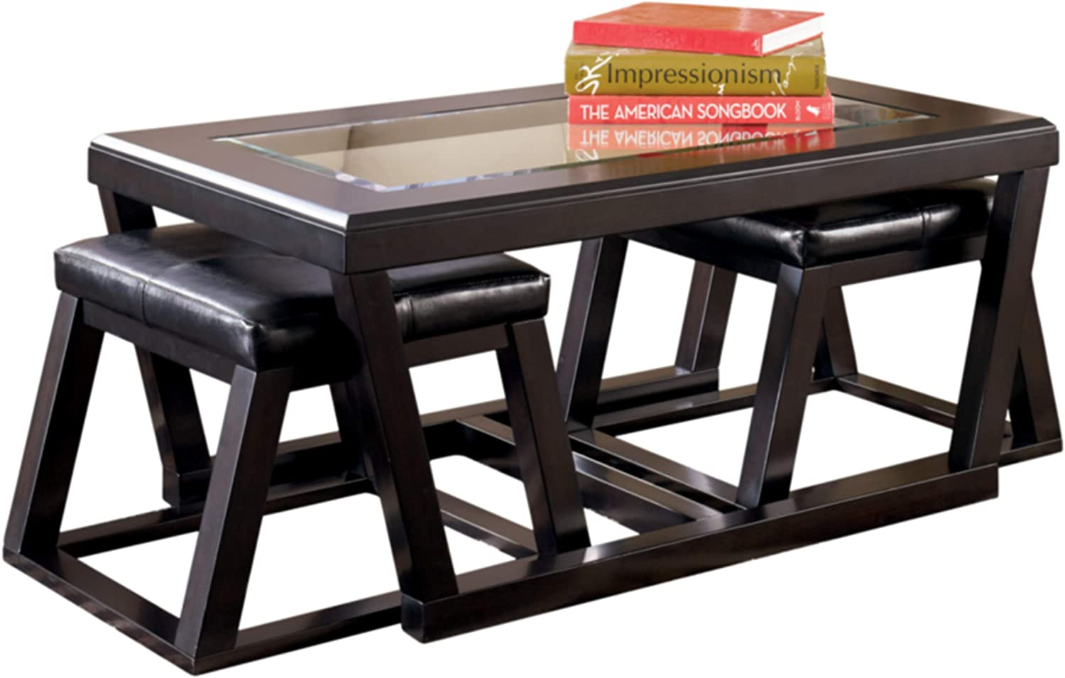 Signature Design by Ashley - Kelton Glass Top Coffee Table with 2 Stools - 3 Piece Set, Espresso Brown: Furniture & Decor