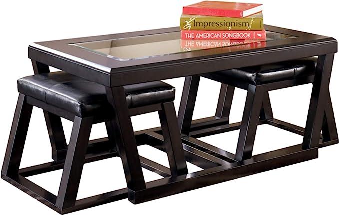 Signature Design By Ashley Kelton Glass Top Coffee Table With 2 Stools 3 Piece Set Espresso Brown Furniture Decor Amazon Com