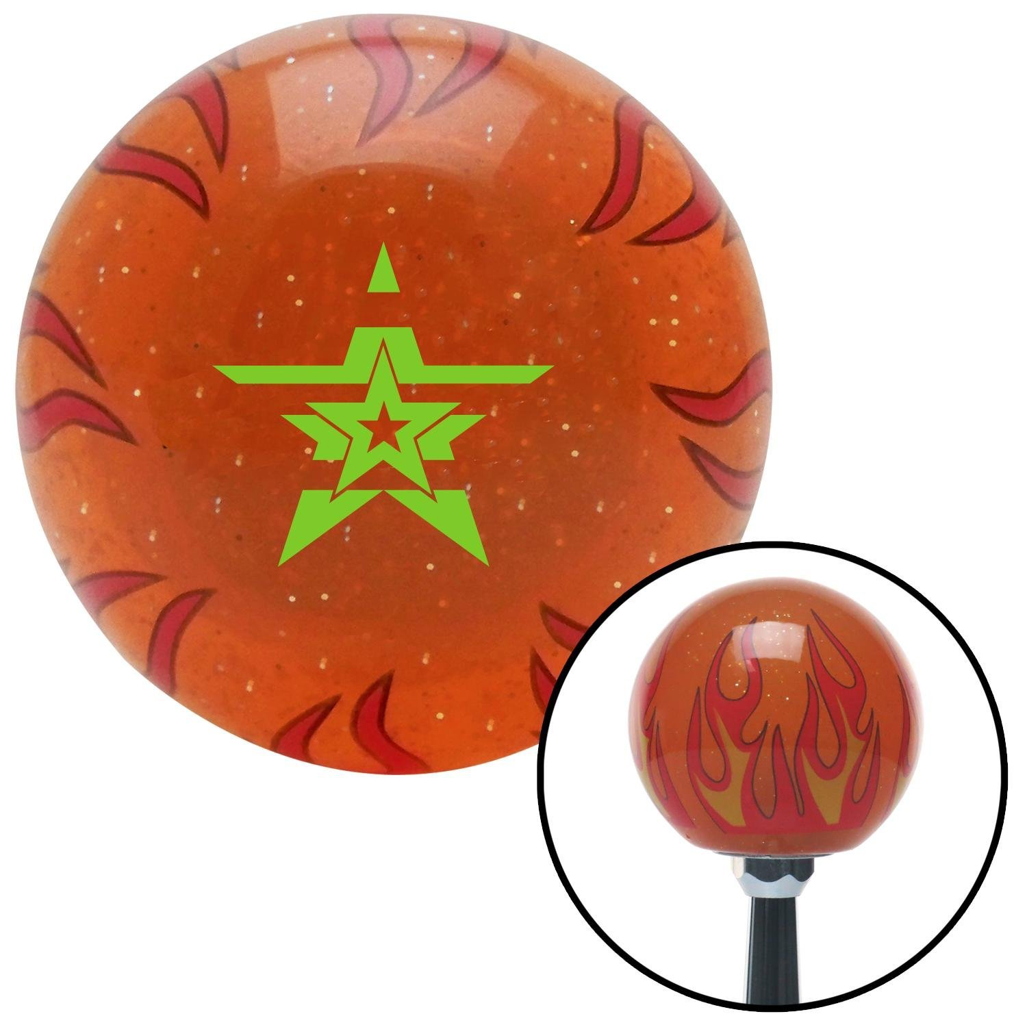 American Shifter 255934 Orange Flame Metal Flake Shift Knob with M16 x 1.5 Insert Green Star in a Star in a Star