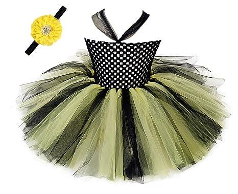 Tutu Dreams Baptism Dress For Baby Girls Flower Headband Bee Yellow Black Free Size