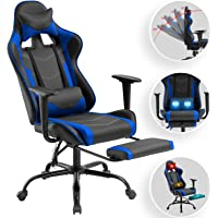 Computer Gaming Chair PC Ergonomic Office Chair Home Executive Desk Chair Adjustable High-Back PU Leather Racing Rolling Swivel Task Chair Lumbar Support Footrest Headrest Armrest Massager (Blue)