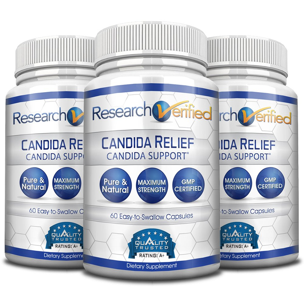 Research Verified Candida Relief - #1 Yeast Infection & Candida Supplement - 100% Natural - w/ 5 strains of probiotic healthy bacteria and Vitamin B & C - 100% Money Back - 3 Bottles (3 Months Supply)