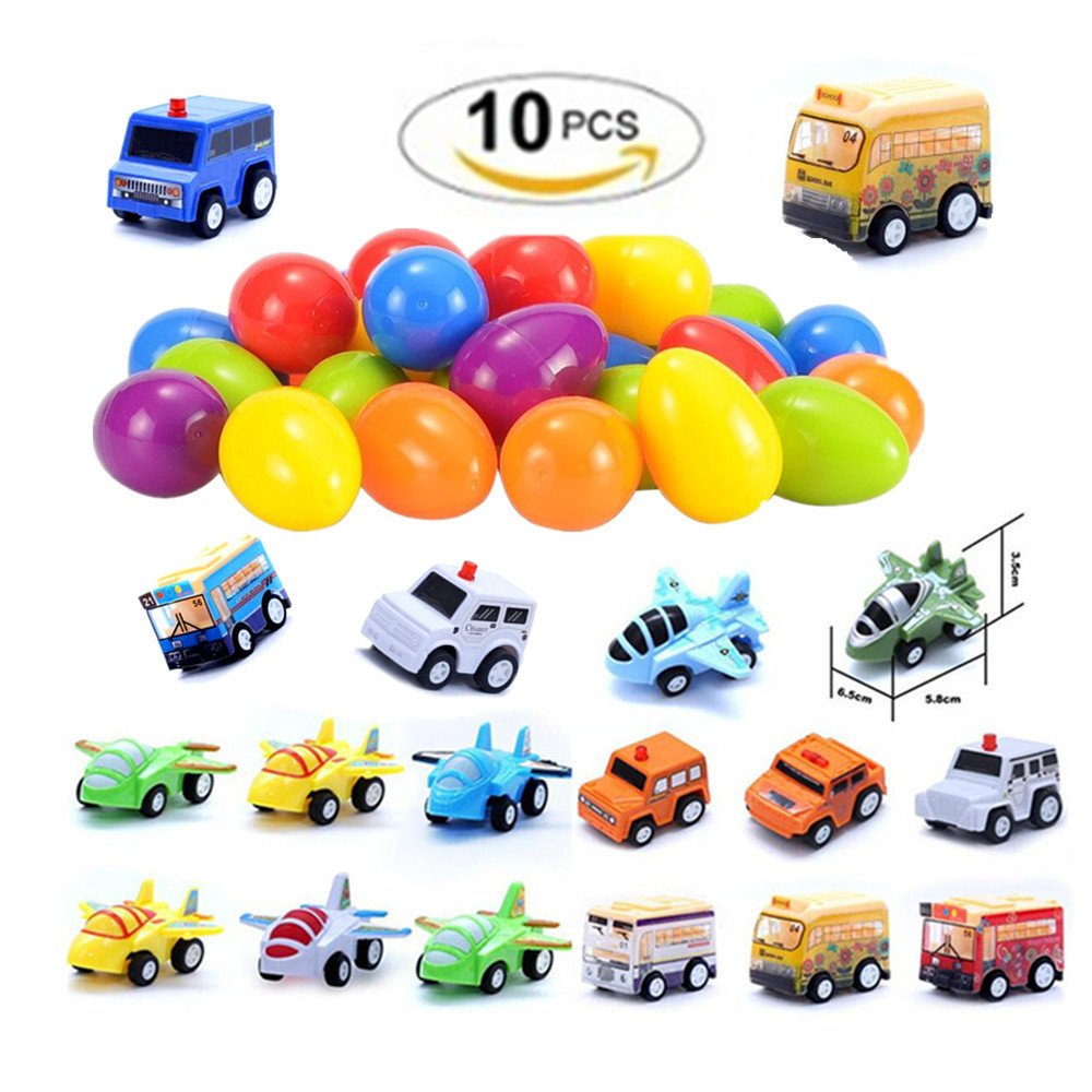10 Pcs Toy Easter Eggs Filled with Mini Pull back Vehicles aircraft Buses For Kids Boys and Girls, Easter theme party children's toys(random model) Stillshine