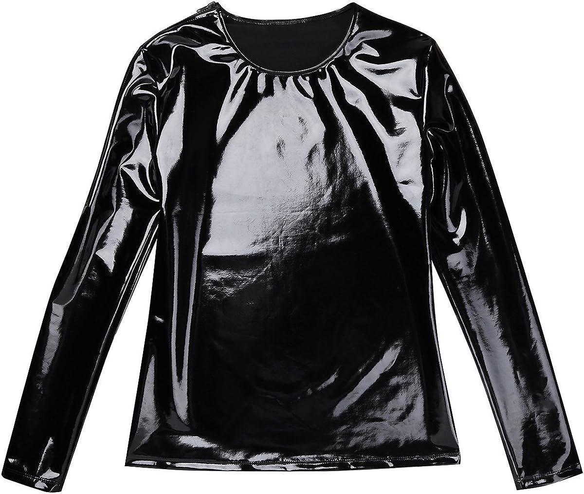 ranrann Mens Wet Look PVC Leather Long Sleeve T Shirt Clubwear Side Zipper Tops Jacket Shirts Blouse