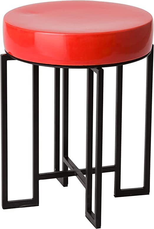 Emissary Home /& Garden 25414BK//CL Stool//Table Black//Coral