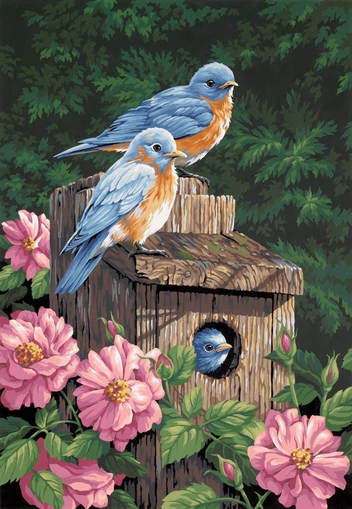 Dimensions PBN 14x20 Garden Bluebirds