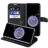 Samsung Galaxy S9 Hülle, HWeggo Galaxy S9 Leder Hülle Schutzhülle Flip Tasche Handyhülle Brieftasche Wallet Hülle im Bookstyle Klapphülle mit Standfunktion für Samsung Galaxy S9 -Schwarz