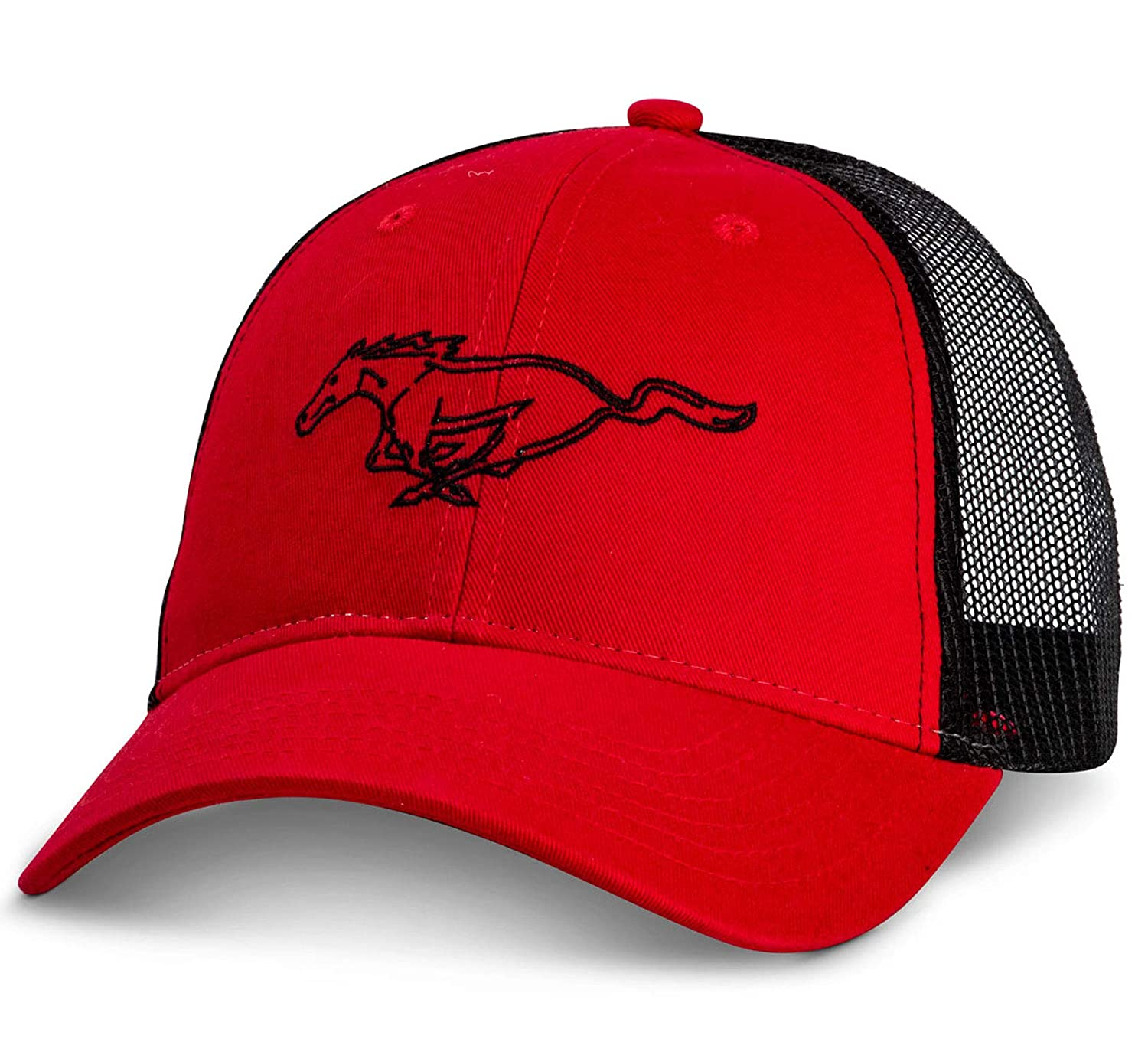 Bundle with Driving Style Decal Gregs Automotive Ford Mustang Mesh Back Red Hat Cap