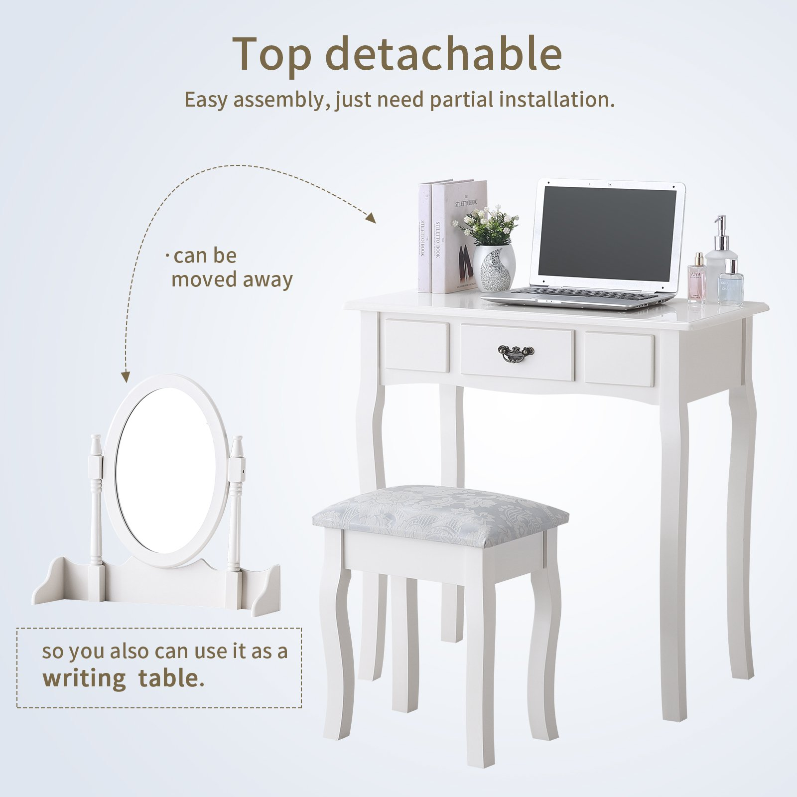Mecor Vanity Makeup Table Set Dressing Table with Stool and Oval Mirror,White by Mecor (Image #3)