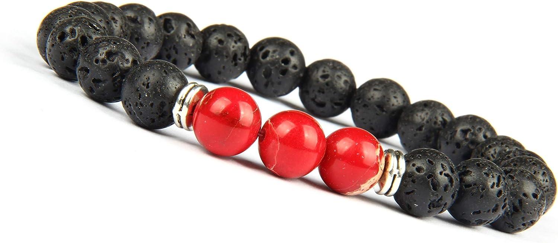 Good.Designs ® Pulsera de Perlas Chakra Fabricada de ónix y Piedra volcánica (Pulsera de Yoga) Pulsera de energía Negra con Colorida Perla de Jaspe para Damas y Caballeros (Mundo - Rojo)