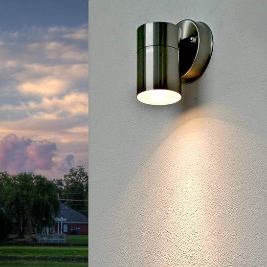 Moderna lámpara de exterior de acero inoxidable ALASKA GU10 plata de 17cm de alto IP44 iluminación de camino jardín balcón terraza patio terraza: Amazon.es: Iluminación