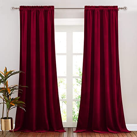 Amazon.com: NICETOWN Red Velvet Curtains and Drapes for Bedroom, Home Decor  Panels for Home Theatre/Film Room/Stage (Set of 2, Rod Pocket Design, 84  inches Long): Home & Kitchen