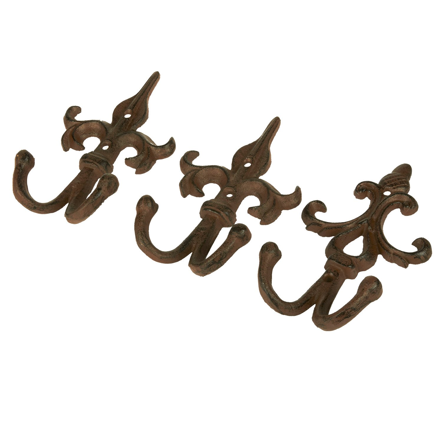 Juvale Shabby Chic Ornate Iron Hook - Classic Wall Mounted Hook for Coat, Hat, Scarf - Set of 3