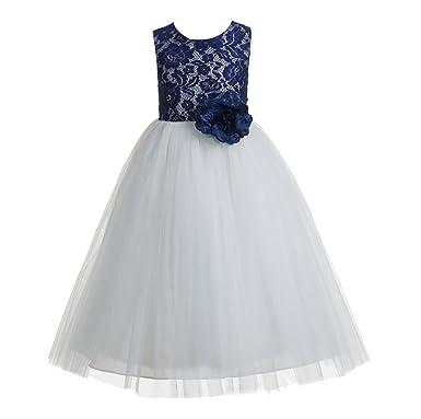 Amazon ekidsbridal floral lace heart cutout toddler flower girl ekidsbridal navy blue floral lace heart cutout toddler flower girl dress beauty gown 172f 4 mightylinksfo