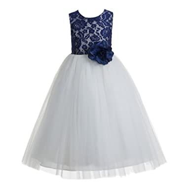 62cdab7bd78 Amazon.com  ekidsbridal Floral Lace Heart Cutout Toddler Flower Girl Dress  Christening 172F  Clothing