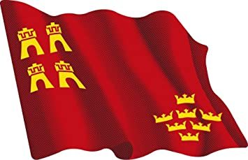 Artimagen Pegatina Bandera Ondeante Murcia 80x60 mm.: Amazon.es: Coche y moto