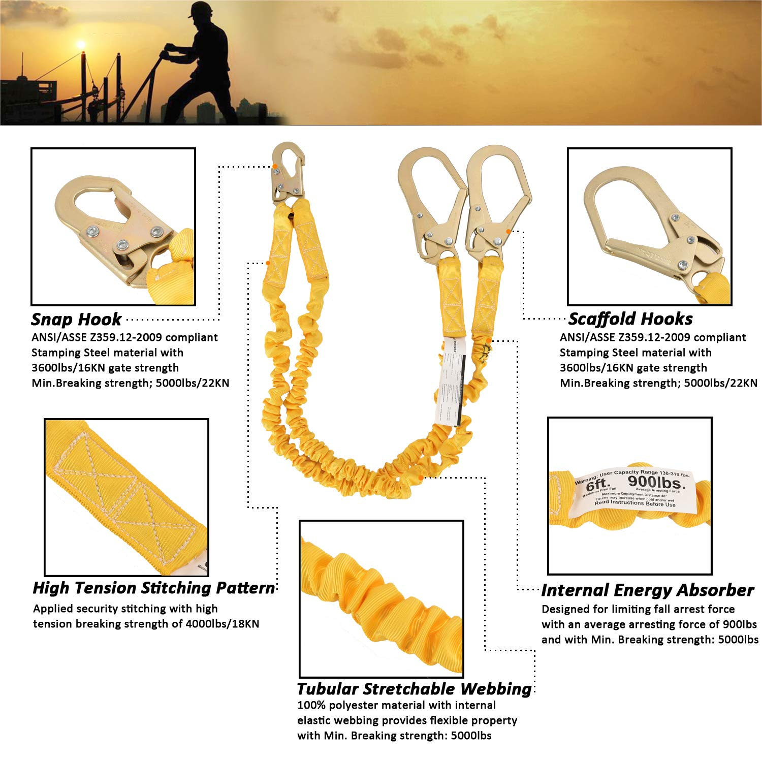 WELKFORDER Double Leg 6-Foot Fall Protection Internal Shock Absorbing Stretchable Safety Lanyard with Snap & Rebar Hook Connectors ANSI Complaint by WELKFORDER (Image #5)