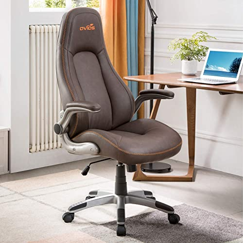 ovios Ergonomic Office Chair,Modern Computer Desk Chair,high Back Leather Desk Chair with Lumbar Support Brown