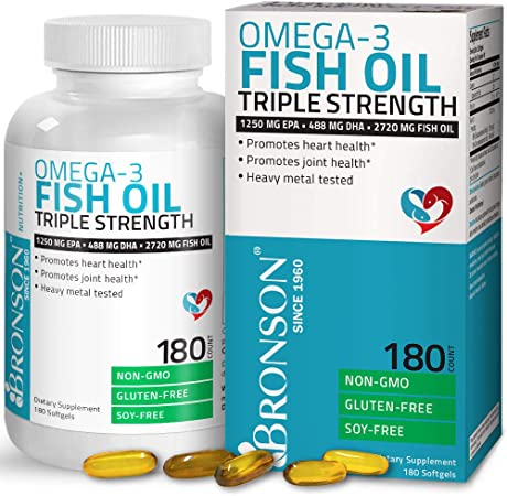 Omega 3 Fish Oil Triple Strength 2720 mg - High EPA 1250 mg DHA 488 mg - Heavy Metal Tested - Non GMO - 180 Softgels