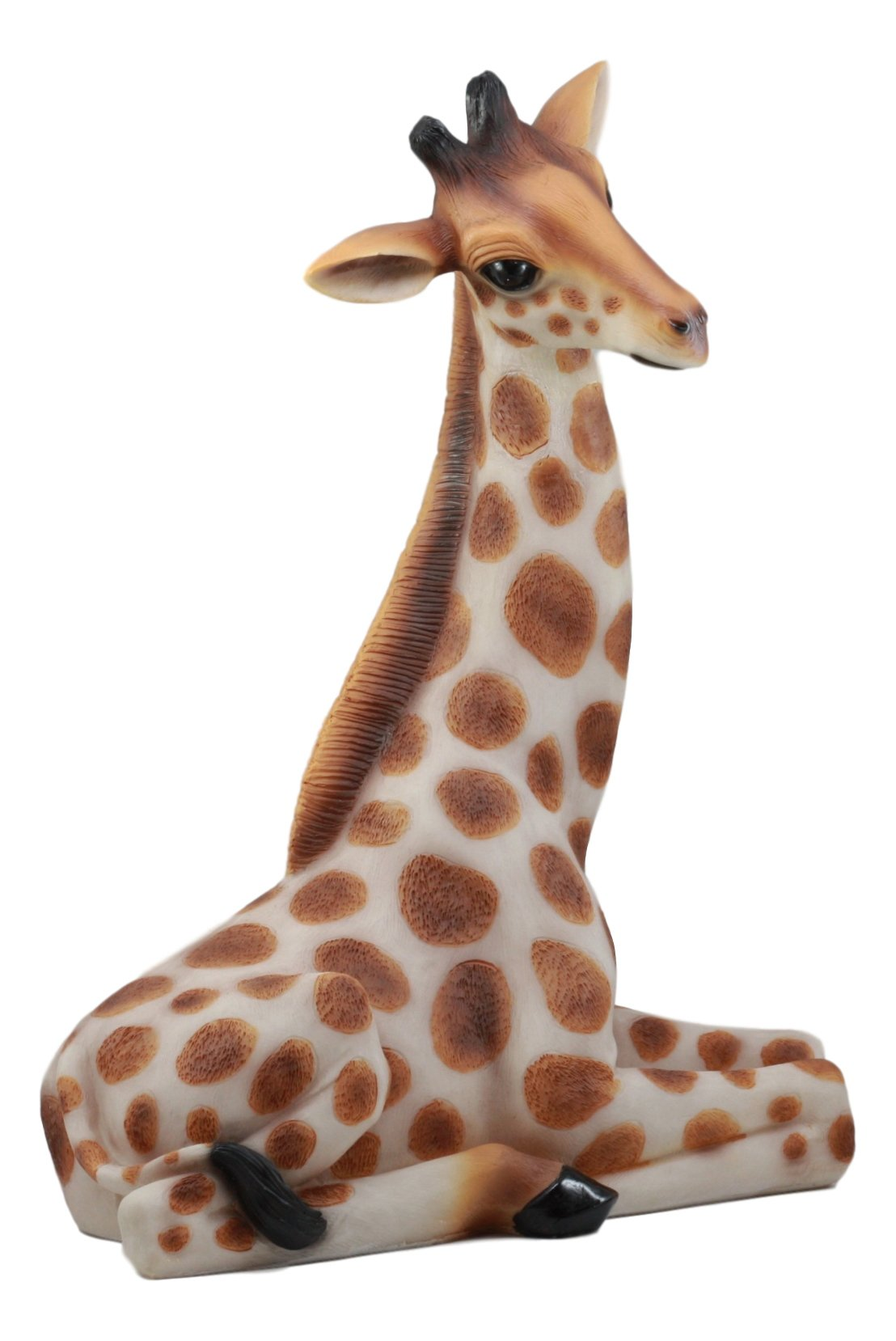Ebros Large Madagascar Wildlife Sitting Giraffe Statue 19.5'' Tall Safari Savannah Reticulated Giraffe Animal Collectible Home Decor