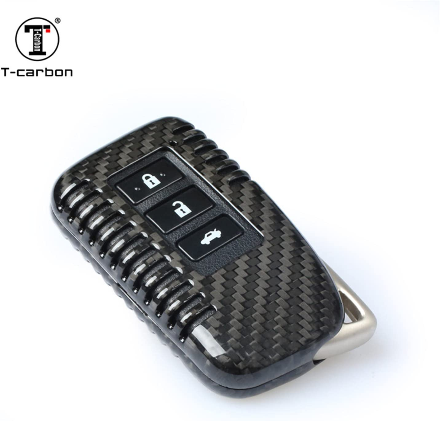 Light Weight Glossy Key Fob Protection Case Black 4 Buttons Fits Lexus NX RX LX is ES GS RC F Smart Keyless Start Stop Engine Car Key Carbon Fiber Key Fob Cover for Lexus Key Fob Remote Key