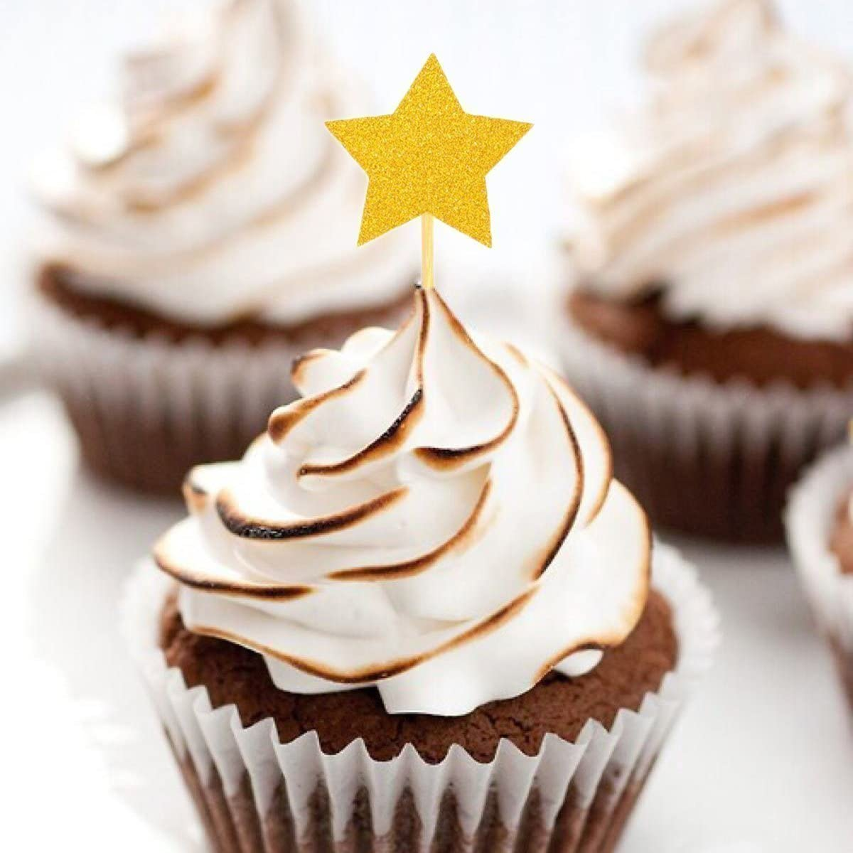 QICI 50 Pcs Gold Star Cupcake Toppers Cake Decorations Star Cupcake Toppers Twinkle Little Star Decorations Birth Baby Shower Decorations Baby Cake Flags