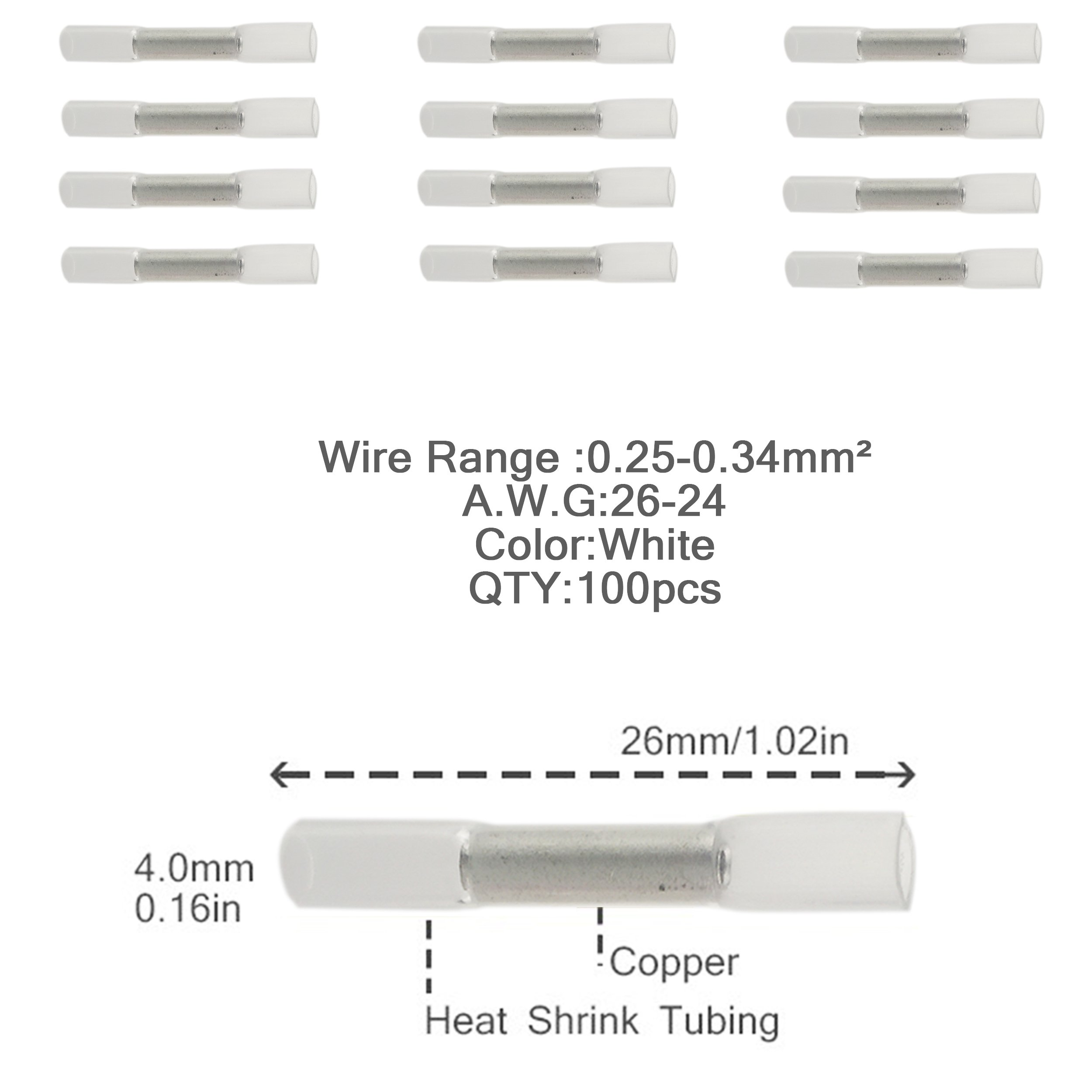 Iztoss 100pcs 26-24AWG Insulated Heat Shrink Butt Wire Electrical Crimp Terminal Connector white by IZTOSS (Image #3)