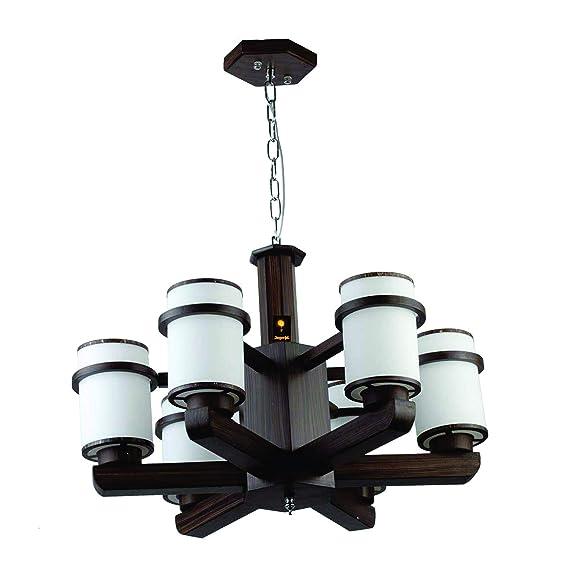 Imper!al Designer 6 Light Contemporary Wooden Chandelier Jhoomer for Ceiling with Led Bulb