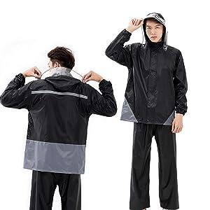 レインウェア上下セット 防水レインスーツ 全天候型 レインコート 雨具 アウトドアスポーツ 雨合羽 カッパ  通学 通勤に対応 梅雨 台風対策 収納バッグ 帽子 袖つき 軽量 防汚 釣り 自転車 バイ男女兼用