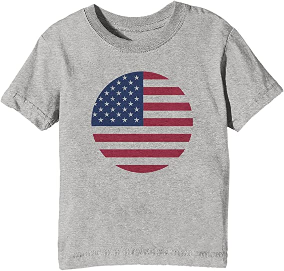 America Estados Unidos Bandera Niños Unisexo Niño Niña Camiseta Cuello Redondo Gris Manga Corta Tamaño XL Kids Unisex Boys Girls T-Shirt Grey X-Large Size XL: Amazon.es: Ropa y accesorios