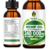 Hemp Oil Drops 240 000 mg, 100% Natural Extract, Natural Dietary Supplement, Rich in Omega 3&6 Fatty Acids for Skin & Heart H