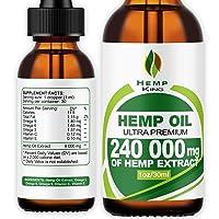 Hemp Oil Drops 240 000 mg, 100% Natural Extract, Anti-Anxiety and Anti-Stress, Natural...