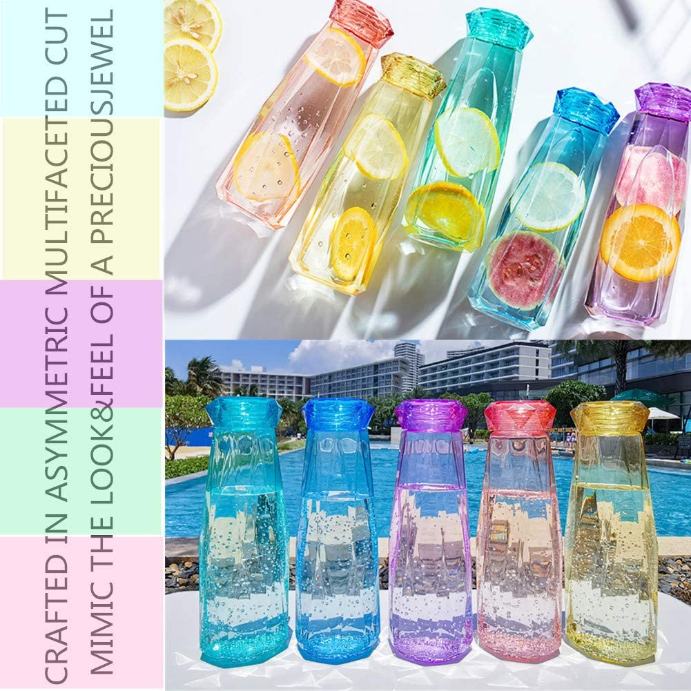 Purple Diamond Crystal Glass Water Bottles l 14 Oz Clear Juice Water Bottles with Leak Proof Lid l Reusable Travel Cycling Milk Drinking Bottle
