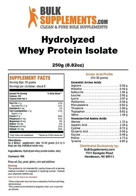 Amazon.com: bulksupplements Pure hydrolyzed Proteína WHEY ...